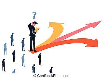 ビジネス, 混乱させられた, 決定, 方向, マネージャー, 作りなさい