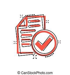 ビジネス, 漫画, バックグラウンド。, 合意, 点検, 承認しなさい, concept., 隔離された, アイコン, ...