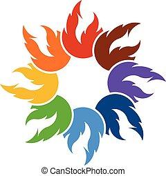 ビジネス, 火, チームワーク, ベクトル, 炎, ロゴ