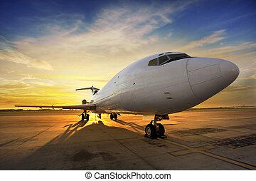 ビジネス, -, 照らされる後部, 飛行機, 日没