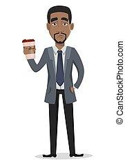 ビジネス, 特徴, アメリカ人, アフリカ, 漫画, 人