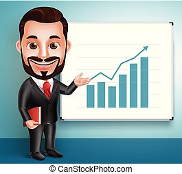 ビジネス, 特徴, 現実的, ベクトル, 人, 専門家, 3d, 話すこと, 幸せ