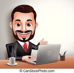 ビジネス, 特徴, 現実的, ベクトル, 専門家, 人, 3d
