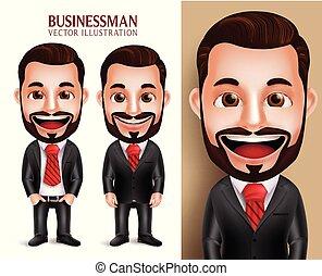 ビジネス, 特徴, 現実的, ベクトル, 魅力的, 人, 服装, 専門家, 3d, 企業である, 幸せ
