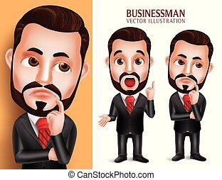 ビジネス, 特徴, 現実的, ベクトル, 魅力的, 服装, 専門家, 人, 企業である, 3d