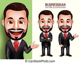 ビジネス, 特徴, 現実的, ベクトル, 魅力的, 服装, 専門家, 微笑の人, 企業である, 3d