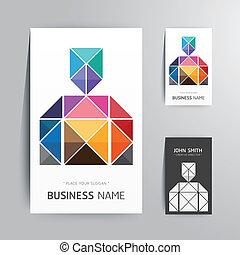 ビジネス, 現代, 創造的, 形, デザイン, テンプレート, .vector, カード, 人