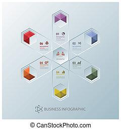 ビジネス, 現代, 核分裂, infographic, デザイン, テンプレート, 六角形