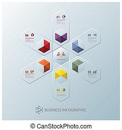 ビジネス, 現代, 融合, infographic, デザイン, テンプレート, 六角形