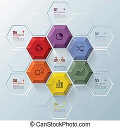 ビジネス, 現代, infographic, デザイン, テンプレート, 六角形