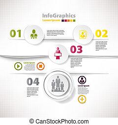 ビジネス, 現代, infographic, デザイン, テンプレート, 切抜き, 分かれる
