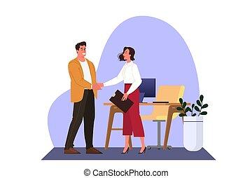 ビジネス, 痛みなさい, communication., 女, ミーティング, オフィス, 偶然