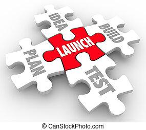 ビジネス, 発射, 困惑, 考え, 小片, 建造しなさい, テスト, 新しい, 始める, 計画