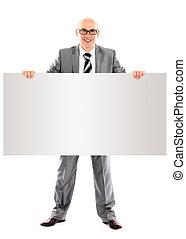 ビジネス, 看板, 提示, 若い, 隔離された, 背景, ブランク, 微笑の人, 白, 幸せ