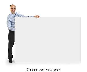 ビジネス, 看板, 提示, 隔離された, 背景, ブランク, 白, 上に, 人