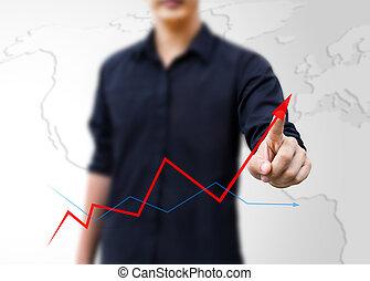 ビジネス, 矢, 成長, ビジネスマン, 上昇, 表すこと, 図画