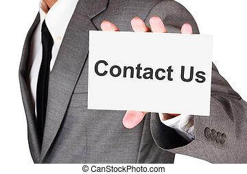 ビジネス, 示されている, 連絡, 私達, カード