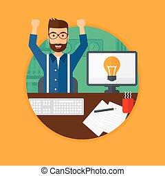 ビジネス, 興奮させられた, idea., 創造的, 持つこと, 人