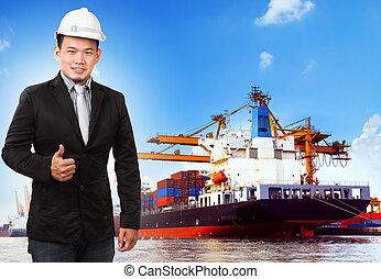 ビジネス, 船, 港, 容器, 人, comercial, 使用