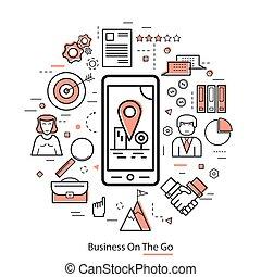 ビジネス, 芸術, -, 行きなさい, 線, 赤