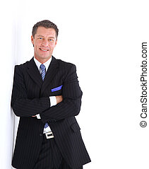 ビジネス, 若い, スーツ, 肖像画, 人, ハンサム