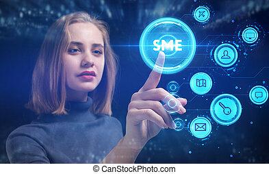 ビジネス, 若い, 事実上, ネットワーク, 未来, 仕事, concept., ビジネスマン, インターネット, 見る...