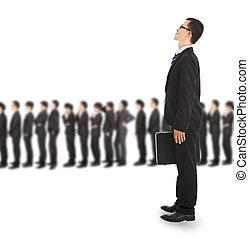 ビジネス, 若い, 待つこと, インタビュー, 線, 人
