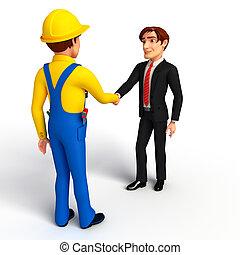 ビジネス, 若い, 手, 機械工, 振動, 人