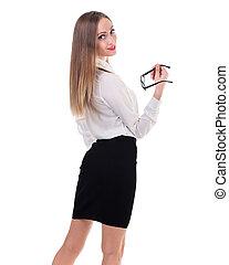 ビジネス, 若い, 隔離された, 女, 肖像画, 白