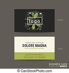 ビジネス, 葉, 緑の背景, 花, カード