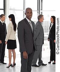 ビジネス, 見る, カメラ, チーム, 前部, リーダー