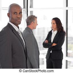 ビジネス, 見る, カメラ, チーム, 前部, 深刻, リーダー