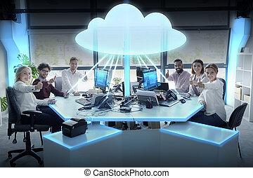 ビジネス, 計算, チーム, ホログラム, 雲, 幸せ