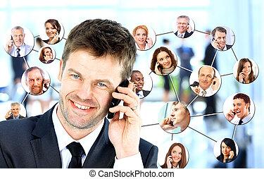 ビジネス, 話し, コラージュ, 人々, 電話, 多様