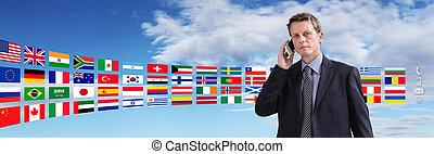 ビジネス, 話し, 電話, 旗, 背景, 連絡, インターナショナル, 人