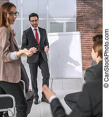 ビジネス, 論じる, プロジェクト, チーム, 新しい, プレゼンテーション