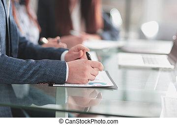 ビジネス, 財政, up.businessman, 終わり, schedule., 点検, 概念