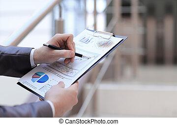 ビジネス, 財政, up.businessman, concept., 終わり, 点検, statement.