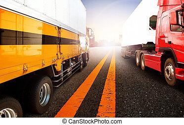 ビジネス, 貨物, 港, 背景, 船, 輸送, 港, ロジスティックである, 飛行, 容器, トラック, 貨物, 使用, 輸入, 背景, エクスポート, 飛行機