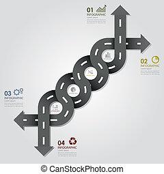 ビジネス, &, 通り, デザイン, テンプレート, infographics, 道