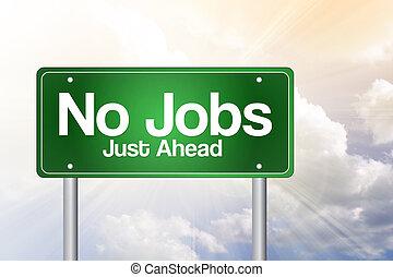 ビジネス, 道, いいえ, 仕事, 印, 緑, 概念