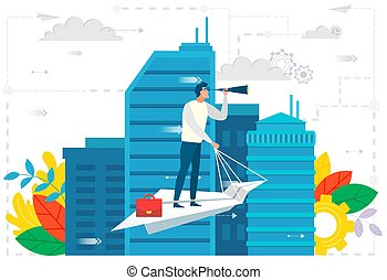 ビジネス, 都市, 飛行機, 野心, ペーパー, リーダー