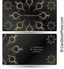ビジネス, 金, 装飾, 黒い背景, カード