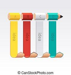 ビジネス, 鉛筆, 選択, 階段, infographics