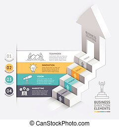 ビジネス, 階段, 矢, 図, テンプレート, 3d