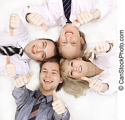 ビジネス, 隔離された, team., クローズアップ, white., 幸せ