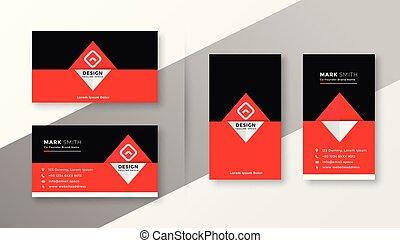 ビジネス, 黒い赤, 流行, デザイン, カード