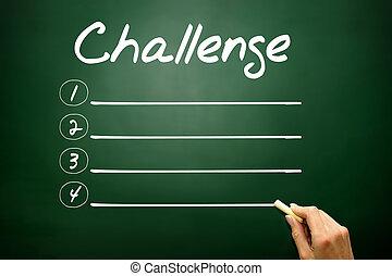 ビジネス, 黒板, リスト, 挑戦, ブランク, 手, 引かれる, 概念