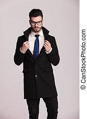 ビジネス, 黒, 身に着けていること, コート, 人, ハンサム, 長い間