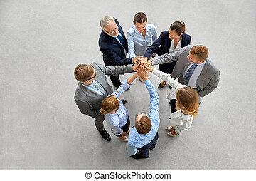 ビジネス, 5人の人々, オフィス, 作成, 高く